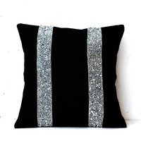 Black Burlap Silver Sequin Stripes Decorative Throw Pillow Cushion Cover
