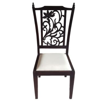 Teak Wood Carved Back Dining Chairs - Set of 6