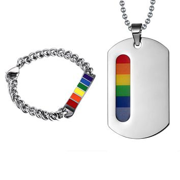 BRACELET NECKLACE SET JEWELRY LGBT Gay Pride Stainless Steel Rainbow