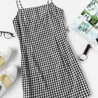 Black and White Gingham Print Spaghetti Strap Dress
