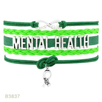 Infinity Mental Health Awareness Hope Ribbon Neon Green Charm Leather Wrap Jewelry