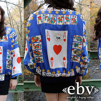 RARE Vintage 80's Faux MOSCHINO COUTURE Ace of Hearts Playing Cards Bomber Jacket S M L