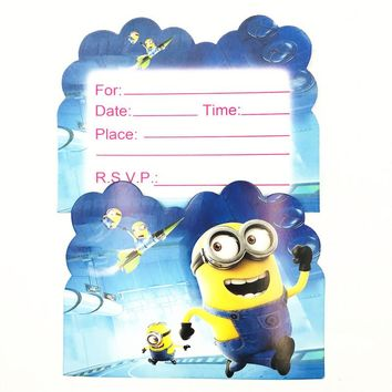 10pcs Minions Invitation Card Theme Party Paper supplies Birthday Party Decorations Kids Baby Shower Supplies Party Favors set