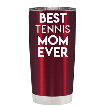 TREK Best Tennis Mom Ever on Translucent Red 20 oz Tumbler Cup