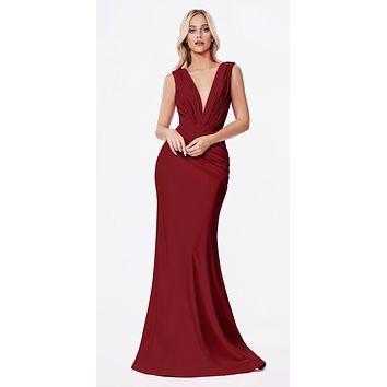 Long Fitted Jersey Gown Burgundy Ruched Pleated Waistline Deep V-Neckline
