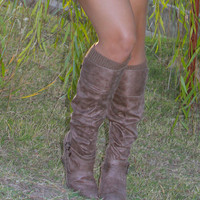 Distressed Suede Tall Boot, Two Colors