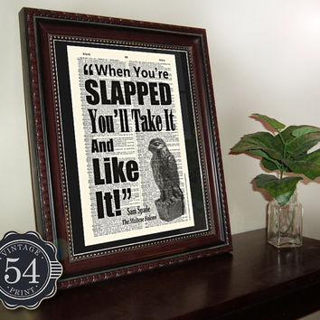 Vintage Dictionary Page Art Print, Quote, Maltese Falcon, Humphrey Bogart, Upcycled Book Art, Recycled Book Page, Home Decor, Wall Decor