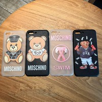 """Moschino"" Couple Cute Cartoon Letter Bear Flamingos Print iPhoneX/8/6S Soft Silica Gel Phone Case iPhone7 Plus Apple Phone Shell"