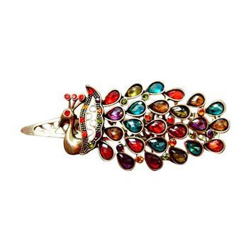 Peacock Hair Jewelry Wedding Accessories Colorful Hairpin Hair Clip