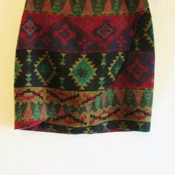 Women's Vintage Aztec Southwest Print Knee Length Wrap Skirt