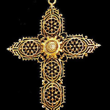 "Gold Cross Pendant Necklace Signed ART Religious Gold Filigree BIG 20"" Vintage"