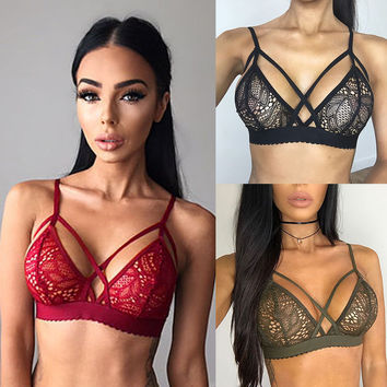 Floral Sheer Women Clothing Lace Triangle Bralette Strappy Bra Crop Top Bustier Unpadded Mesh Women Clothes Bras