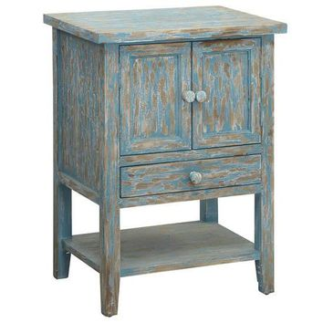 Dawson Creek 1 Drawer / 2 Door Accent Chest In Weathered Oak And Cyan Finish By Crestview Collection Cvfzr2237