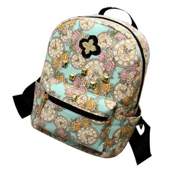 R1100% brand new and high quality Women Fashion  Canvas Backpack Clock Flowers Canvas Bag travel bags gift free shipping
