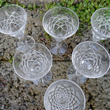 Vintage Waterford crystal glass - sherry glasses - set of 6 Waterford glasses - vintage dining wine glass
