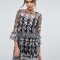 Lipsy Embroidered Skater Dress at asos.com