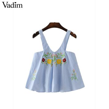 Women sweet floral embroidery summer striped shirts straps sleeveless V neck blouse cute chic casual tops