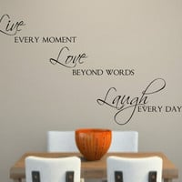 Live Love Laugh Vinyl Wall Decal Decor Lettering Words for the wall   Wall Quotes
