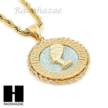 MENS STAINLESS STEEL NEFERTITI MEDALLION PENDANT 24