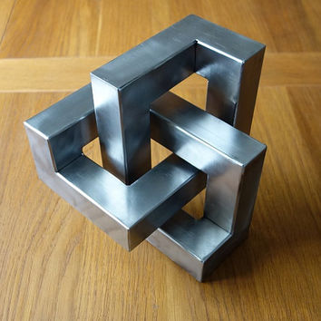 Metal trefoil sculpture - Optical illusion metal art and cool home decor gift handmade from steel