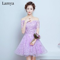 Lamya Customizable Short A line Lace Prom Dresses With Appliques 2017 Special Occasion Dress Party homecoming dresses