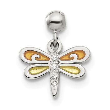 Sterling Silver Mio Memento Enamel And CZ Dangle Dragonfly Charm
