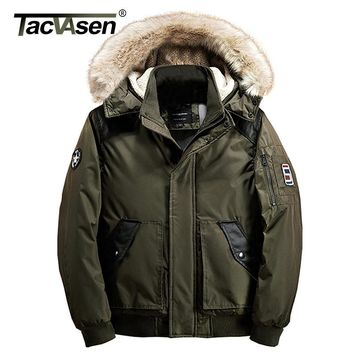 TACVASEN 2018 Winter Men Bomber Jacket Thick Parkas Military Cotton Jacket Army Pilot Jacket Coat Casual Hooded Clothing
