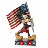 Disney Traditions Mickey with Flag Figurine