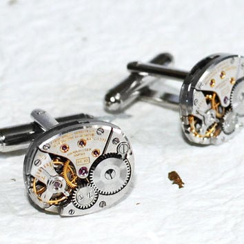 LONGINES Men Steampunk Cufflinks - RARE Swiss Luxury Vintage Watch Movement - Men Steampunk Cufflinks / Cuff Links Christmas Gift