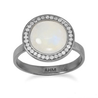 Midnight Moonstone and Gray Diamond Ring