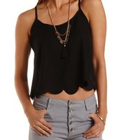 Scalloped Chiffon Flyaway Tank Top by Charlotte Russe