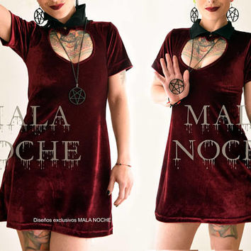 Dress Artemisa, Velvet dress, red wine dress, gothic dress, dark, velvet, Mini dress