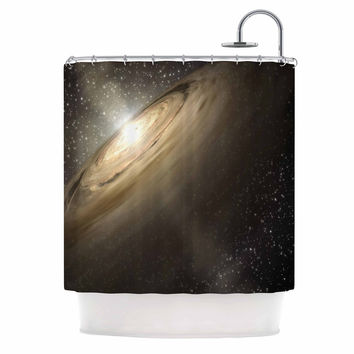"Suzanne Carter ""Galaxy"" Black Tan Shower Curtain"