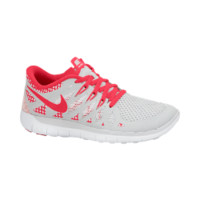 Nike Free 5.0 3.5y-7y Girls' Running Shoes - Pure Platinum