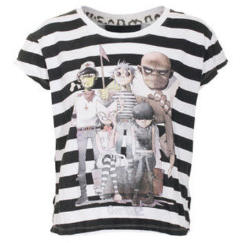 HOUSE OF THE GODS  Crop Gorillaz Black White Cropped oversize t-shirt - T-Shirts & Tanks