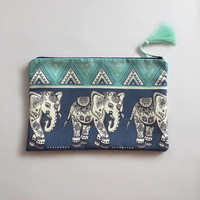ELEPHANT CLUTCH/BOHO Clutch Bag/Elephant Bag/Handbag/Ethnic Pattern Clutch/Blue Suede Bag/ Blue Elephant Pattern Bag/Gift For Her