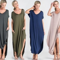 Abigail T-Shirt Pocket Maxi Dress