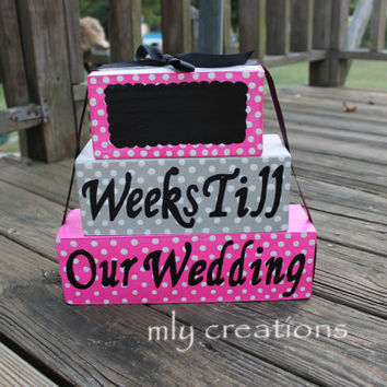 Countdown Blocks, Stack able blocks, countdown to our wedding, custom gift, wedding countdown blocks, Wedding gift, shower gift, baby gift