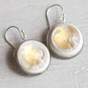 Gold and white circle earrings