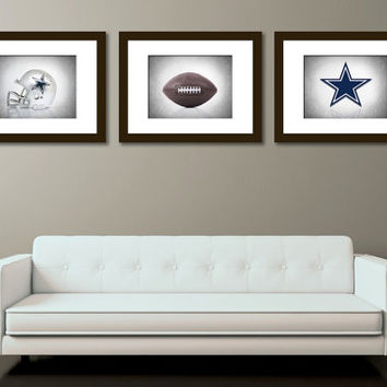Discount set of 3 Dallas Cowboys B&W Background photo print,boys room decor,Dallas cowboys,football decor,sports decor,Cowboys decor
