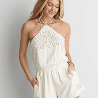 AEO Lace Embroidered Romper , Cream
