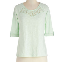 ModCloth Pastel Mid-length Short Sleeves Telling Stories Top