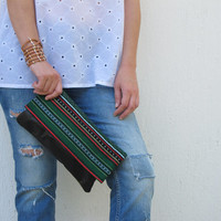Black leather folded clutch with traditional green Greek woven fabric. Crete-Clutch 03 Available in other colors too.  NEW