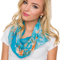 Hello Floral Infinity Scarf - Blue