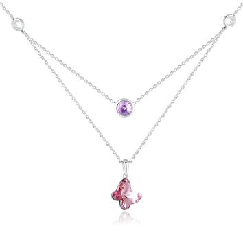 Valentine's Day Gifts For Woman PLATO H Butterfly Round Pendant Necklace with Swarovski Crystal Birthday Gifts Necklace Woman's Necklace Gift for Her, Pink,18""