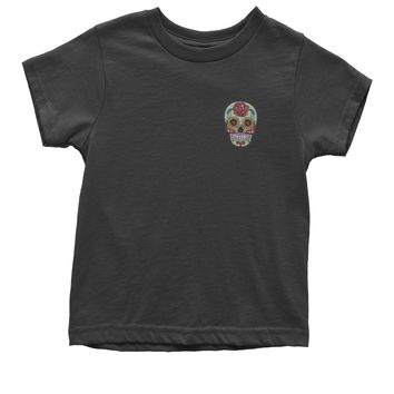 Embroidered White Sugar Skull Patch (Pocket Print) Youth T-shirt