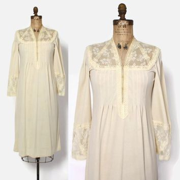 Vintage 70s Giorgio Sant'Angelo Dress / 1970s Ivory Lace Boho Bell Sleeve Midi Dress