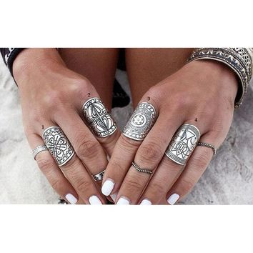 New 1 pcs Bohemia Vintage Unique Carving Tibetan Silver Plated Ring Set for Women Boho Beach Jewelry