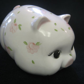 Bank Piggy, Girl Gift, Saving Money, Pink Roses, Porcelain Ceramics Pottery, Hand Painted and Kiln Fired by B. Marsh