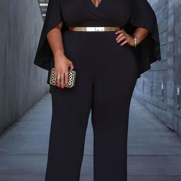 Black Ruffle Cleavage Cloak High Waisted Plus Size Wide Leg Long Jumpsuit
